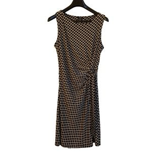 DKR Black and Cream Sleeveless Rouched Dress L